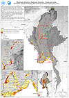Myanmar. Historical Seasonal Analysis. Composite map. Monsoon Season Flooding Recurrence between 2000 and 2010